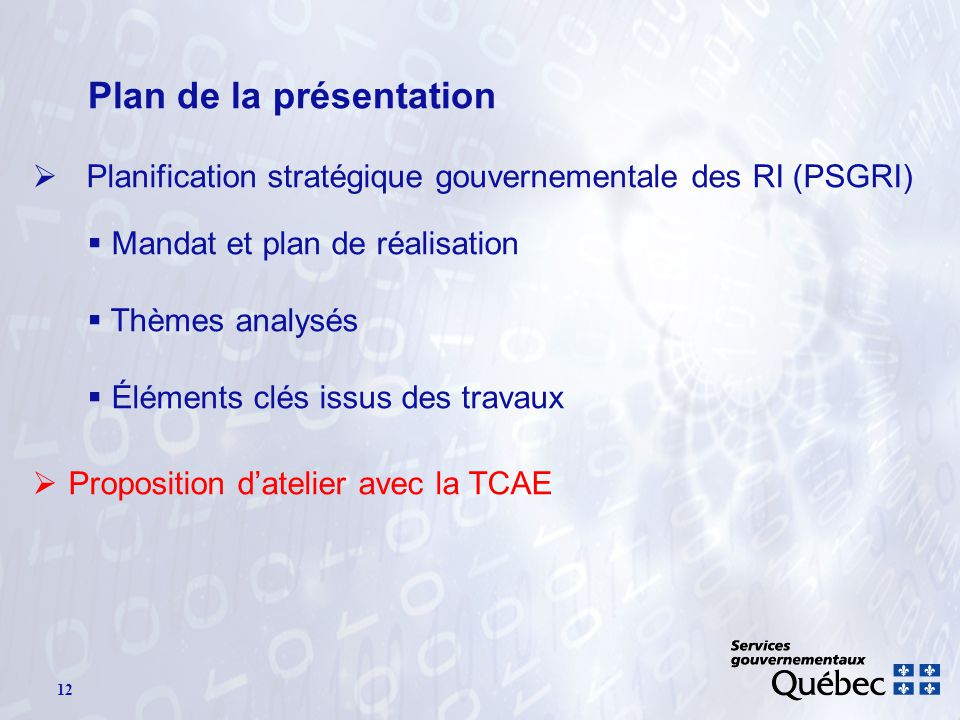 12 Plan de la présentation Planification stratégique gouvernementale des RI (PSGRI) Mandat et plan de réalisation Thèmes analysés Éléments clés issus des travaux Proposition datelier avec la TCAE