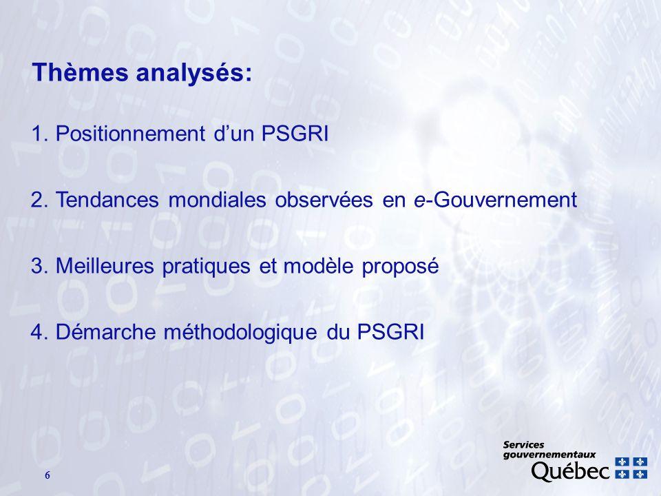 6 Thèmes analysés: 1.Positionnement dun PSGRI 2.Tendances mondiales observées en e-Gouvernement 3.Meilleures pratiques et modèle proposé 4.Démarche méthodologique du PSGRI