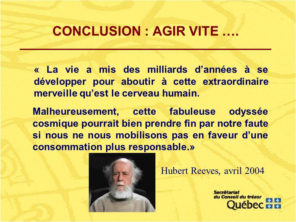 CONCLUSION : AGIR VITE ….