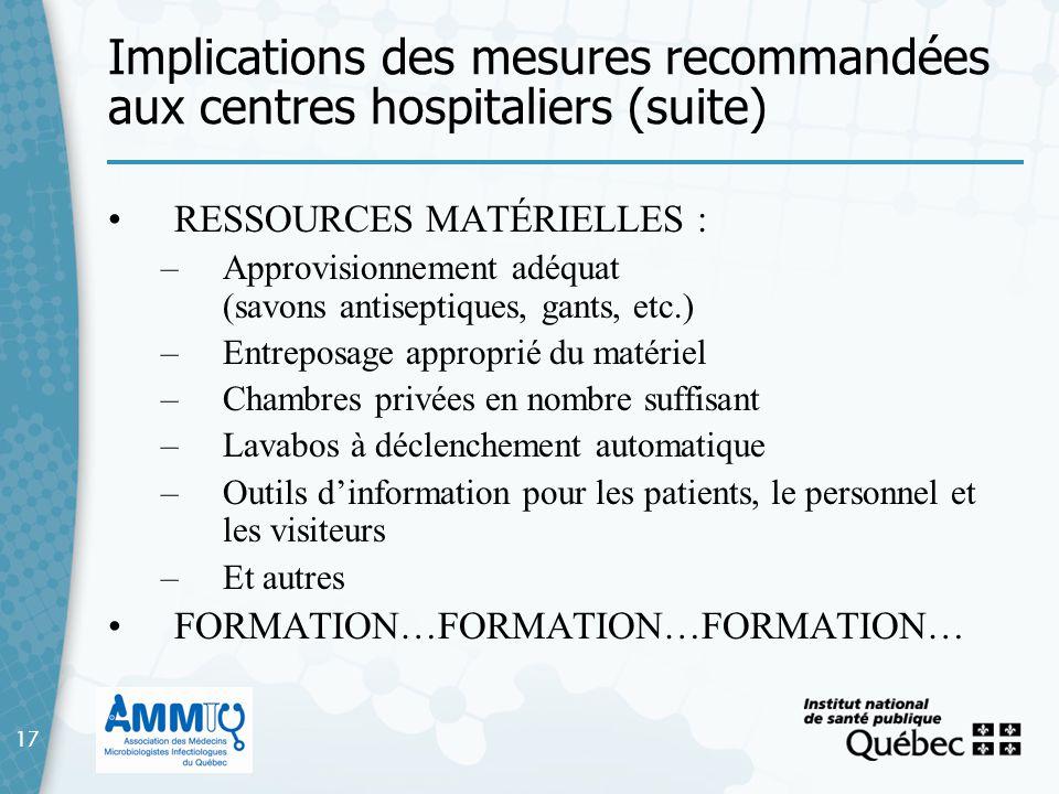 17 Implications des mesures recommandées aux centres hospitaliers (suite) 17 RESSOURCES MATÉRIELLES : –Approvisionnement adéquat (savons antiseptiques
