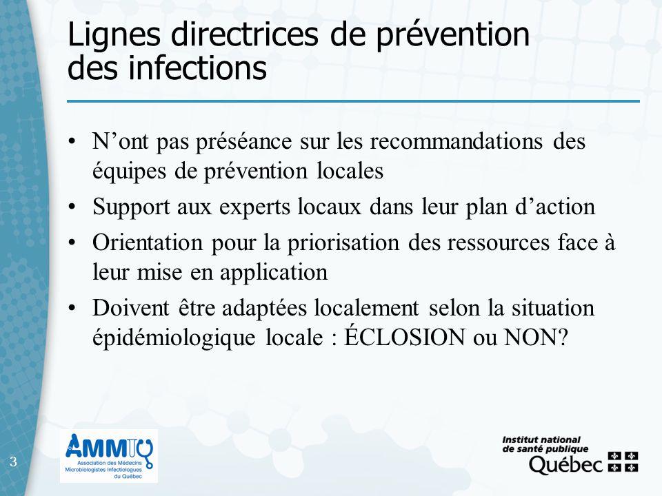 3 Lignes directrices de prévention des infections 3 Nont pas préséance sur les recommandations des équipes de prévention locales Support aux experts l