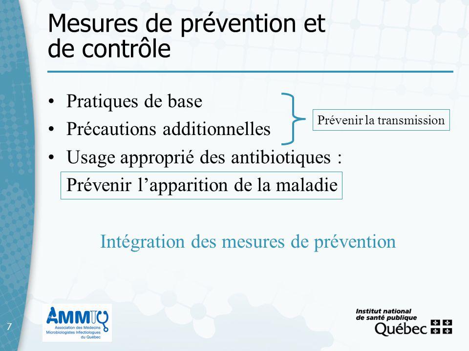 7 Mesures de prévention et de contrôle 7 Pratiques de base Précautions additionnelles Usage approprié des antibiotiques : Prévenir lapparition de la m