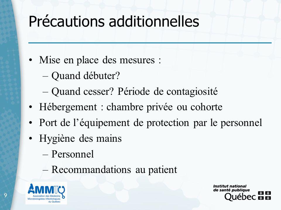 9 Précautions additionnelles 9 Mise en place des mesures : –Quand débuter? –Quand cesser? Période de contagiosité Hébergement : chambre privée ou coho