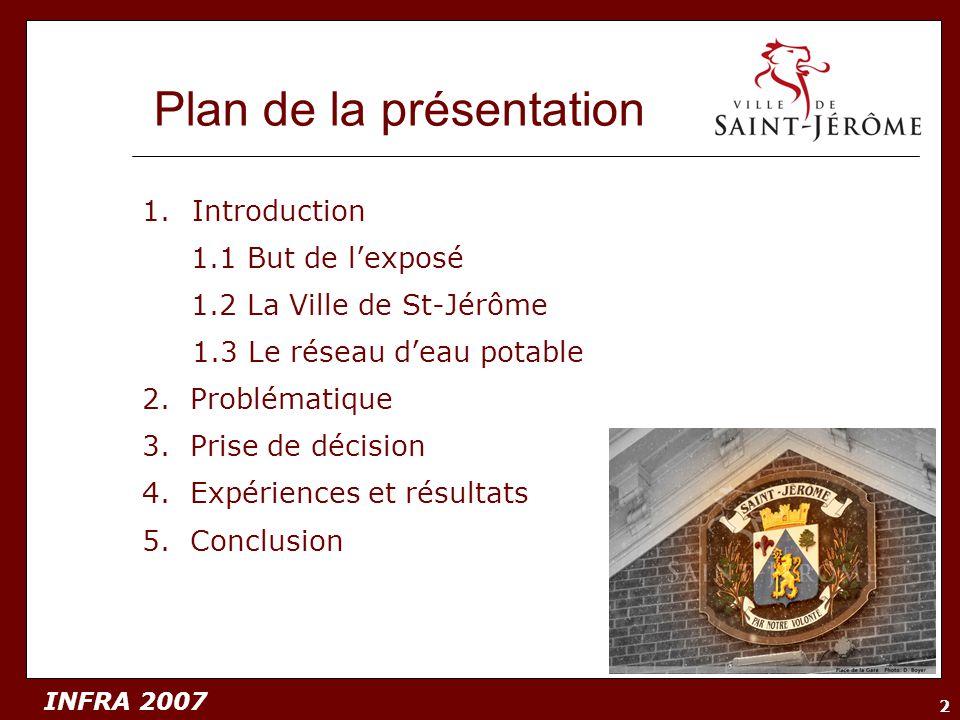 INFRA 2007 2 Plan de la présentation 1.Introduction 1.1 But de lexposé 1.2 La Ville de St-Jérôme 1.3 Le réseau deau potable 2. Problématique 3. Prise