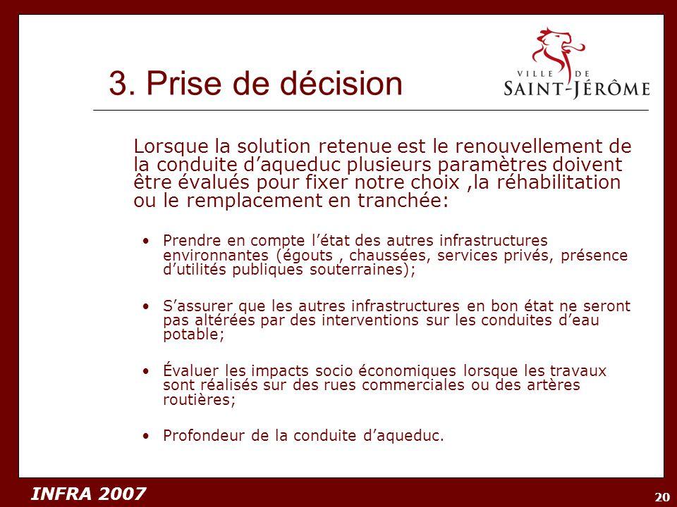 INFRA 2007 20 3. Prise de décision Lorsque la solution retenue est le renouvellement de la conduite daqueduc plusieurs paramètres doivent être évalués