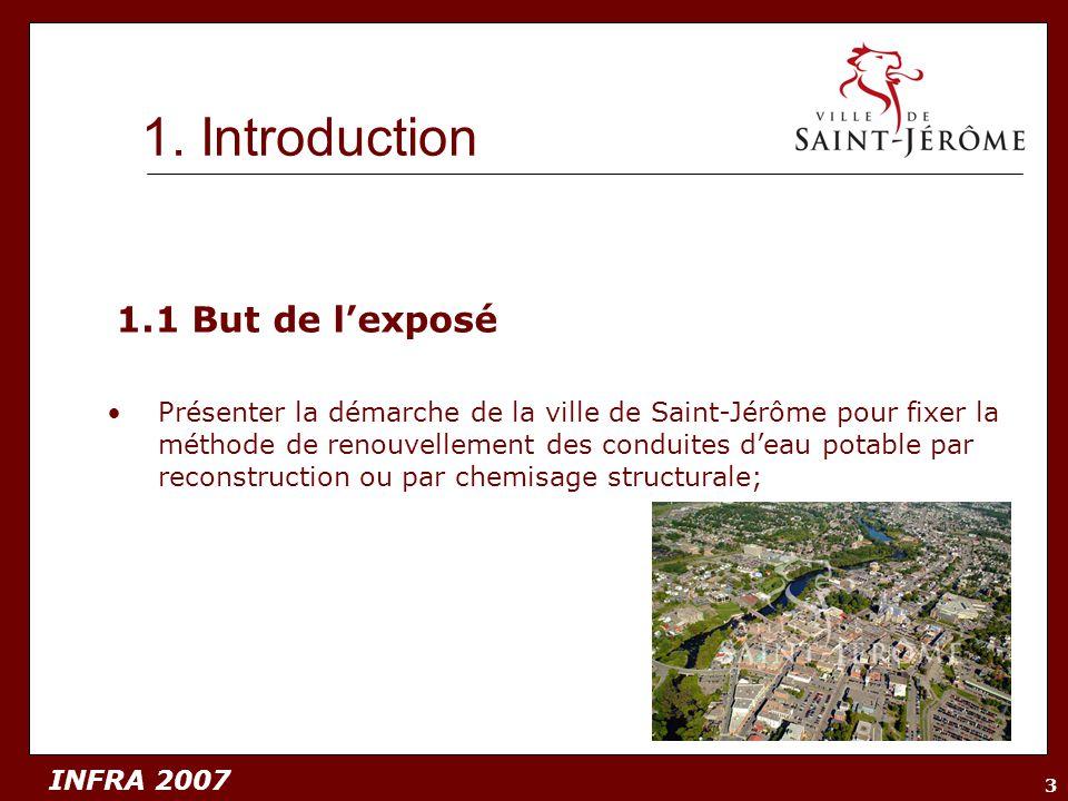 INFRA 2007 3 1.1 But de lexposé Présenter la démarche de la ville de Saint-Jérôme pour fixer la méthode de renouvellement des conduites deau potable p
