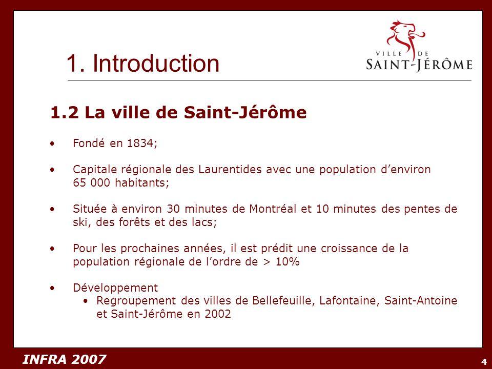 INFRA 2007 4 1.2 La ville de Saint-Jérôme Fondé en 1834; Capitale régionale des Laurentides avec une population denviron 65 000 habitants; Située à en
