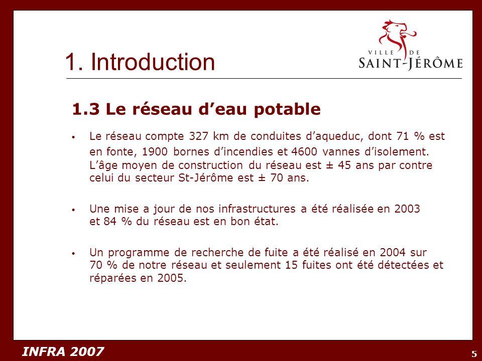 INFRA 2007 5 1.3 Le réseau deau potable Le réseau compte 327 km de conduites daqueduc, dont 71 % est en fonte, 1900 bornes dincendies et 4600 vannes d