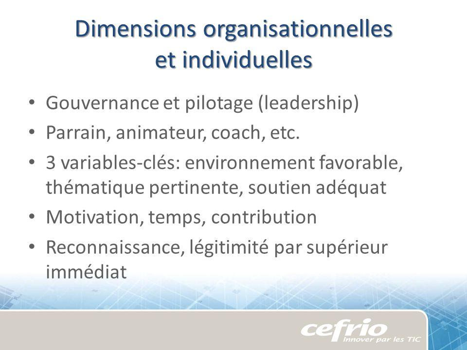 Dimensions organisationnelles et individuelles Gouvernance et pilotage (leadership) Parrain, animateur, coach, etc. 3 variables-clés: environnement fa
