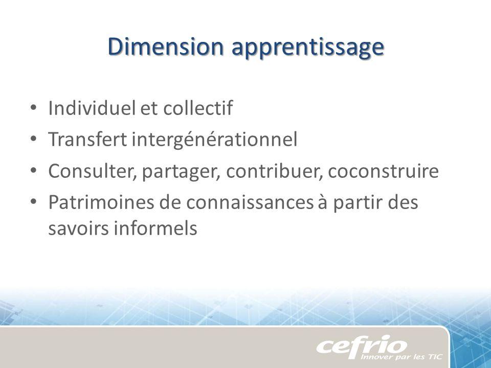 Dimension apprentissage Individuel et collectif Transfert intergénérationnel Consulter, partager, contribuer, coconstruire Patrimoines de connaissance