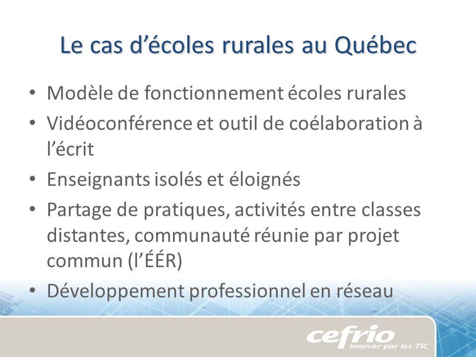 Le cas décoles rurales au Québec Modèle de fonctionnement écoles rurales Vidéoconférence et outil de coélaboration à lécrit Enseignants isolés et éloi