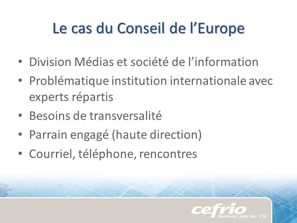Le cas du Conseil de lEurope Division Médias et société de linformation Problématique institution internationale avec experts répartis Besoins de tran