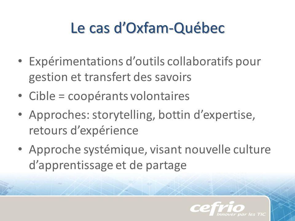 Le cas dOxfam-Québec Expérimentations doutils collaboratifs pour gestion et transfert des savoirs Cible = coopérants volontaires Approches: storytelli