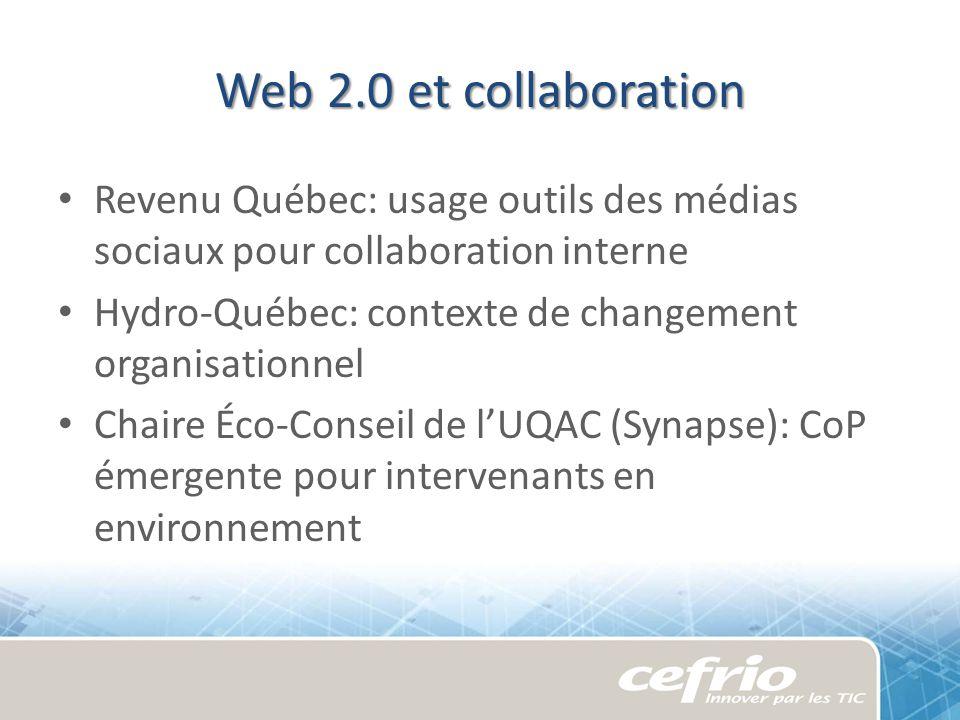 Web 2.0 et collaboration Revenu Québec: usage outils des médias sociaux pour collaboration interne Hydro-Québec: contexte de changement organisationne