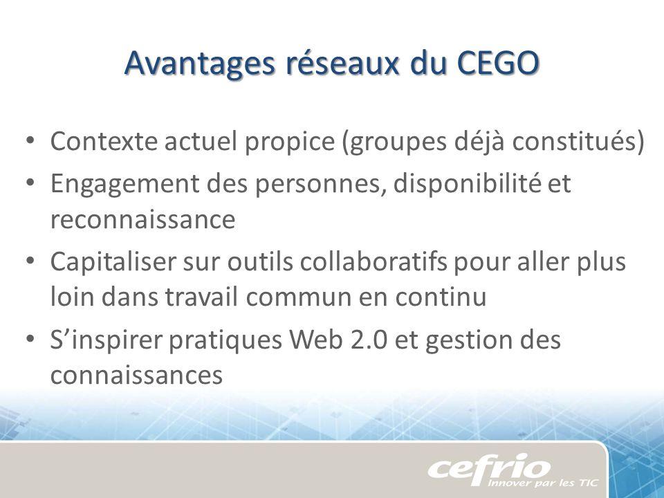 Avantages réseaux du CEGO Contexte actuel propice (groupes déjà constitués) Engagement des personnes, disponibilité et reconnaissance Capitaliser sur