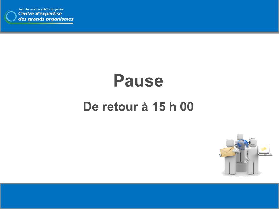 Pause De retour à 15 h 00