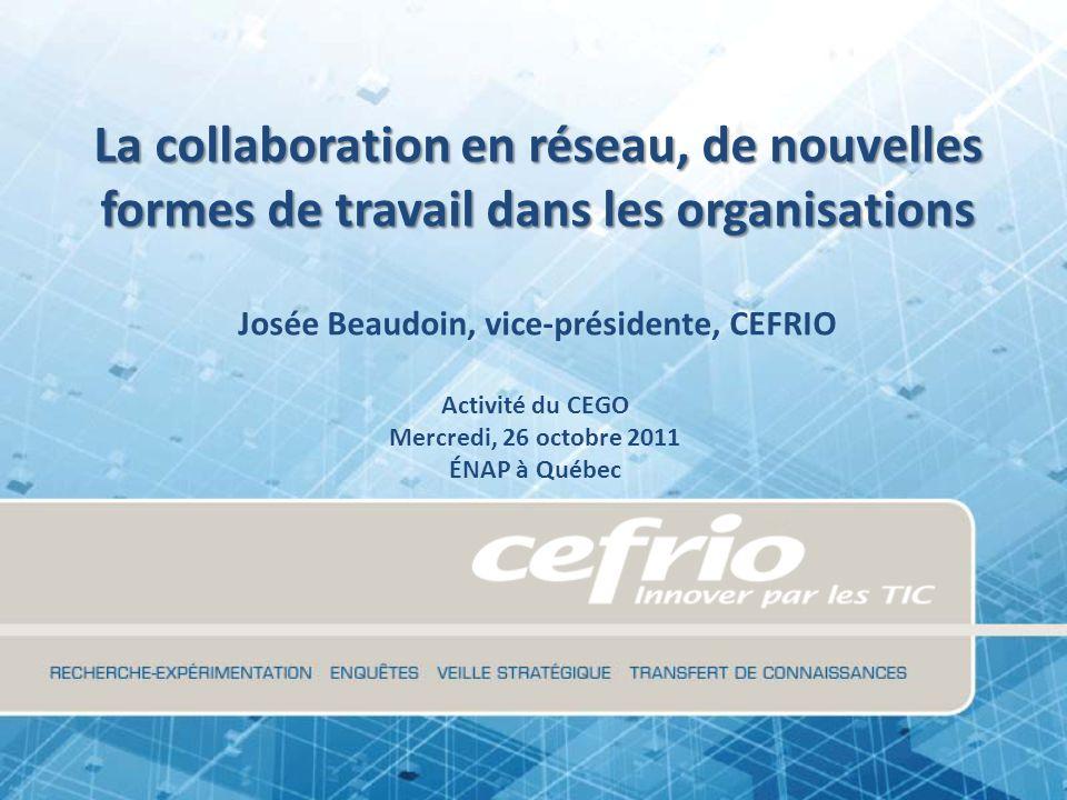Plan de présentation Le CEFRIO La collaboration en réseau, un rappel Leçons tirées des communautés de pratique Quelques cas Web 2.0 et collaboration