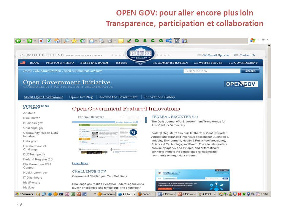 49 OPEN GOV: pour aller encore plus loin Transparence, participation et collaboration