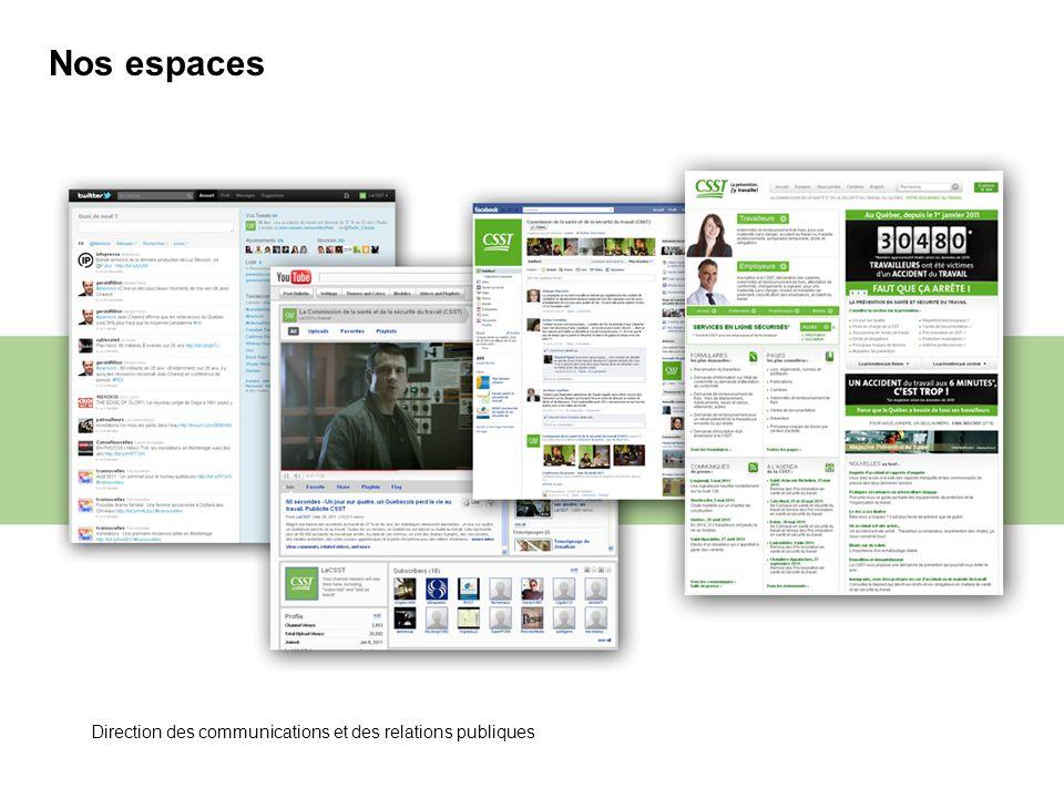 Nos espaces Direction des communications et des relations publiques