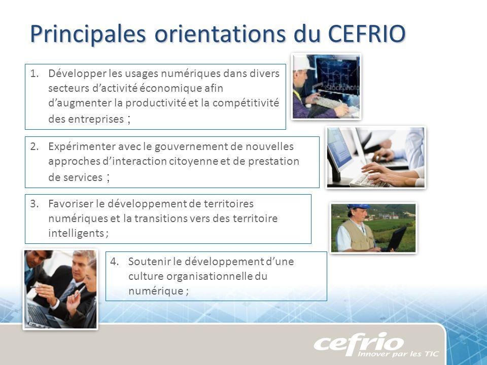 Principales orientations du CEFRIO 1.Développer les usages numériques dans divers secteurs dactivité économique afin daugmenter la productivité et la