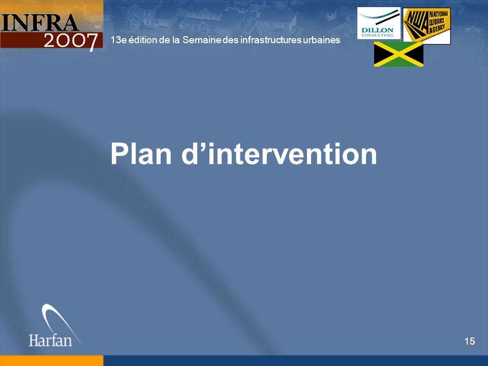 13e édition de la Semaine des infrastructures urbaines 15 Plan dintervention