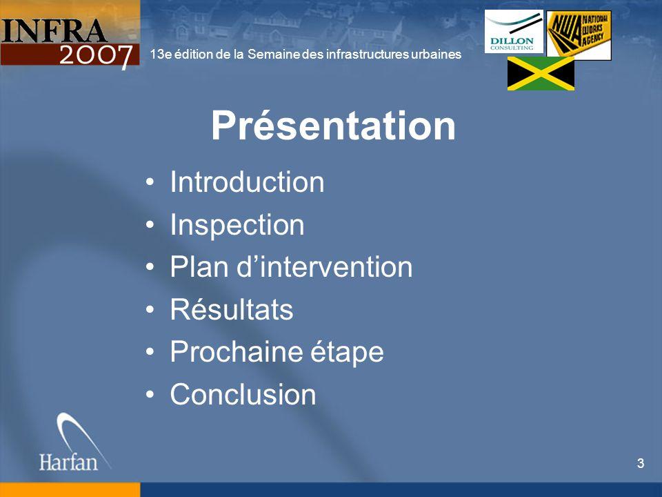 13e édition de la Semaine des infrastructures urbaines 3 Présentation Introduction Inspection Plan dintervention Résultats Prochaine étape Conclusion