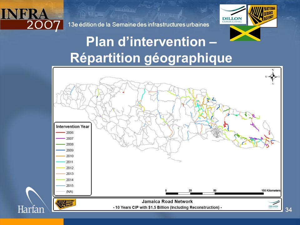 13e édition de la Semaine des infrastructures urbaines 34 Plan dintervention – Répartition géographique