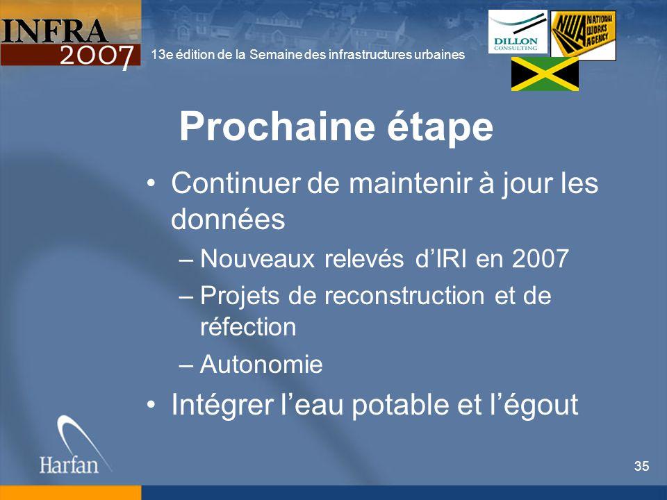 13e édition de la Semaine des infrastructures urbaines 35 Prochaine étape Continuer de maintenir à jour les données –Nouveaux relevés dIRI en 2007 –Pr