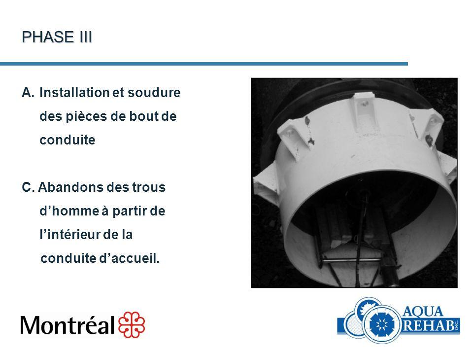 PHASE III A.Installation et soudure des pièces de bout de conduite C. Abandons des trous dhomme à partir de lintérieur de la conduite daccueil.