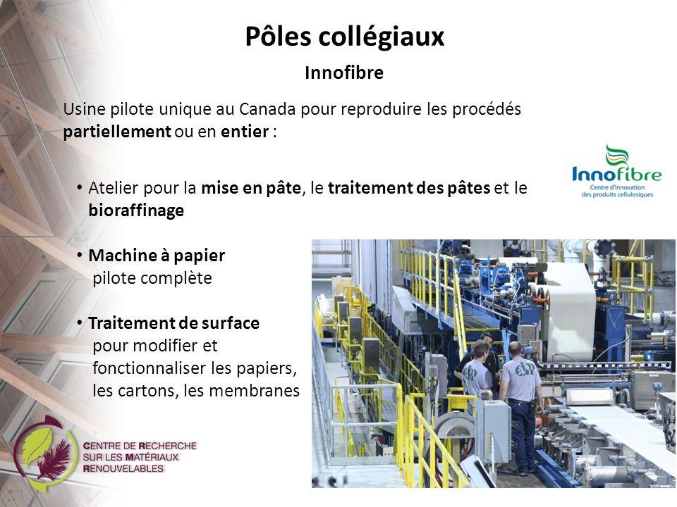 Recyclabilité des cartons Papiers bioactifs Fractionnement de la pâte pour des papiers et cartons de qualité supérieure Pôles collégiaux Projets en cours de développement chez Innofibre Procédé de fabrication de renforts en fibres naturelles orientées pour les biocomposites Fractionnement réactif (biocarburants)