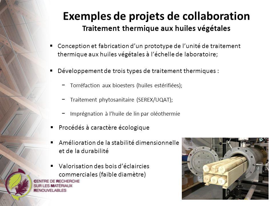 Exemples de projets de collaboration Innofibre / UQTR Récolte et conditionnement de la biomasse algale avec des équipements papetiers en vue de la valoriser à des fins énergétiques Gagnant dun prix en 2013 : « Célébrons le partenariat » de lAssociation pour le développement de la recherche et de linnovation du Québec (ADRIQ) Partenaires : Rio Tinto Alcan, Alga Lab inc., UQTR, Innofibre, CNETE Subvention de lidée à linnovation pour les universités et les collèges (INNOV-UC), CRSNG