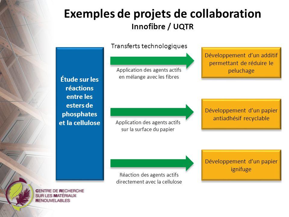 Développement dun papier ignifuge par la phosphorylation de la cellulose Papier conventionnel Papier ignifuge T o + 2 secondes T o + 4 secondes Exemples de projets de collaboration Innofibre / UQTR