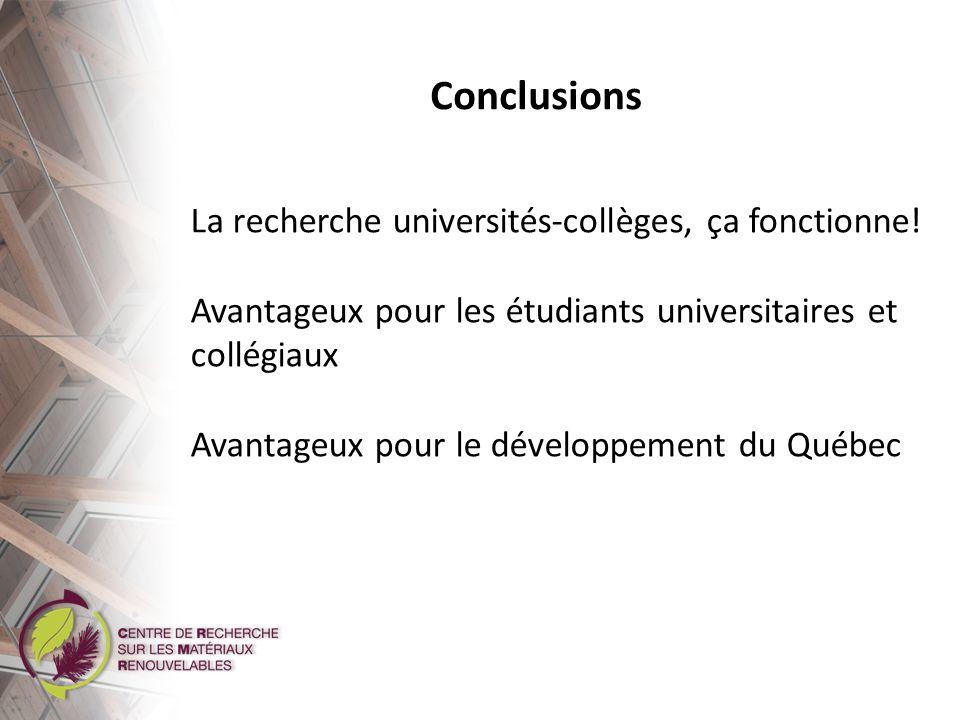 Conclusions La recherche universités-collèges, ça fonctionne! Avantageux pour les étudiants universitaires et collégiaux Avantageux pour le développem