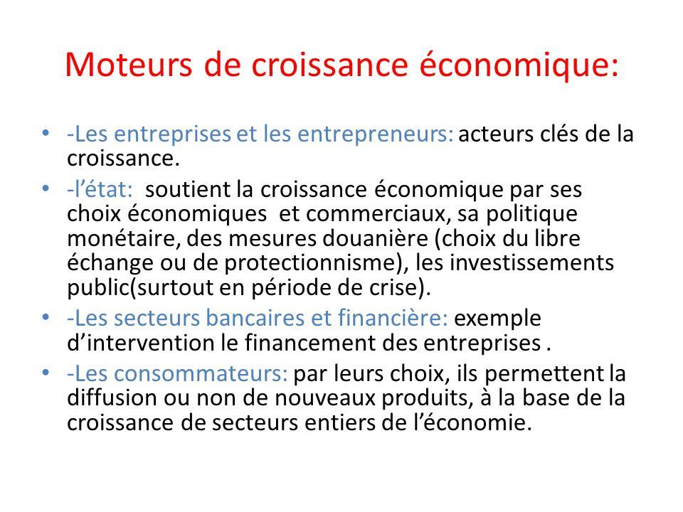 Moteurs de croissance économique: -Les entreprises et les entrepreneurs: acteurs clés de la croissance. -létat: soutient la croissance économique par