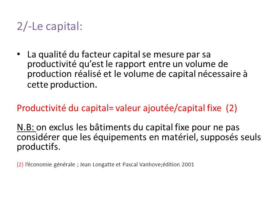 2/-Le capital: La qualité du facteur capital se mesure par sa productivité quest le rapport entre un volume de production réalisé et le volume de capi