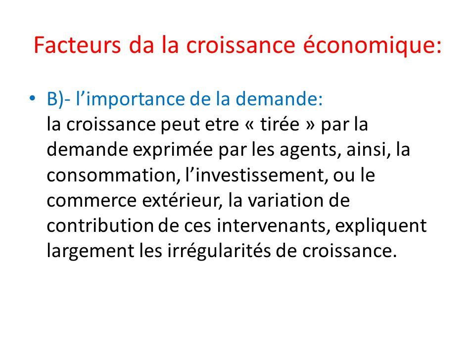 Facteurs da la croissance économique: B)- limportance de la demande: la croissance peut etre « tirée » par la demande exprimée par les agents, ainsi,