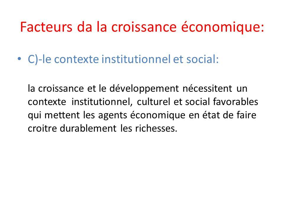 Facteurs da la croissance économique: C)-le contexte institutionnel et social: la croissance et le développement nécessitent un contexte institutionne