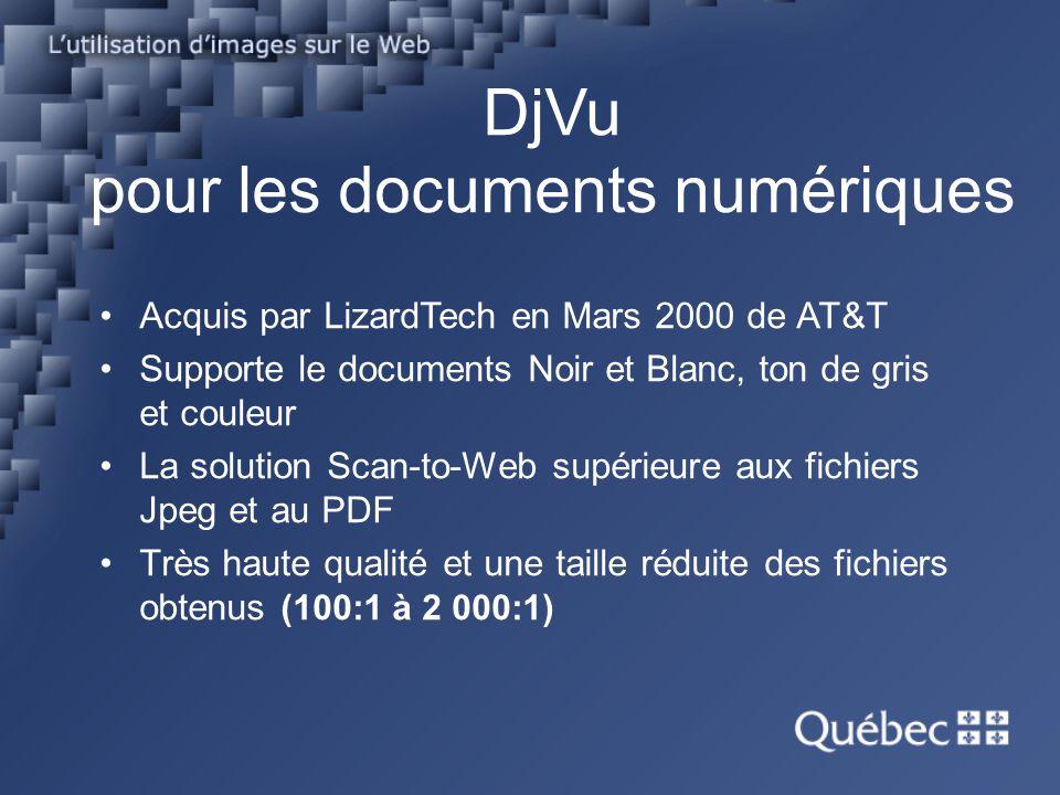 DjVu pour les documents numériques Acquis par LizardTech en Mars 2000 de AT&T Supporte le documents Noir et Blanc, ton de gris et couleur La solution