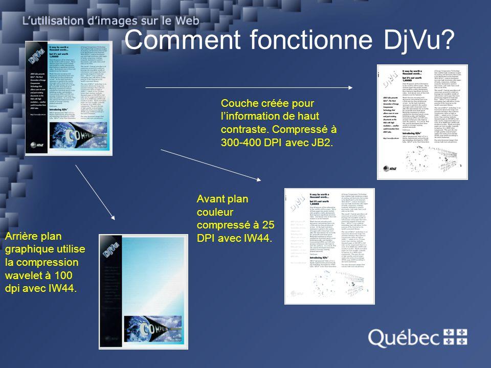 Comment fonctionne DjVu? Couche créée pour linformation de haut contraste. Compressé à 300-400 DPI avec JB2. Avant plan couleur compressé à 25 DPI ave