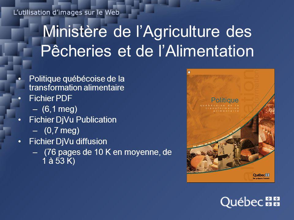 Ministère de lAgriculture des Pêcheries et de lAlimentation Politique québécoise de la transformation alimentaire Fichier PDF –(6,1 meg) Fichier DjVu