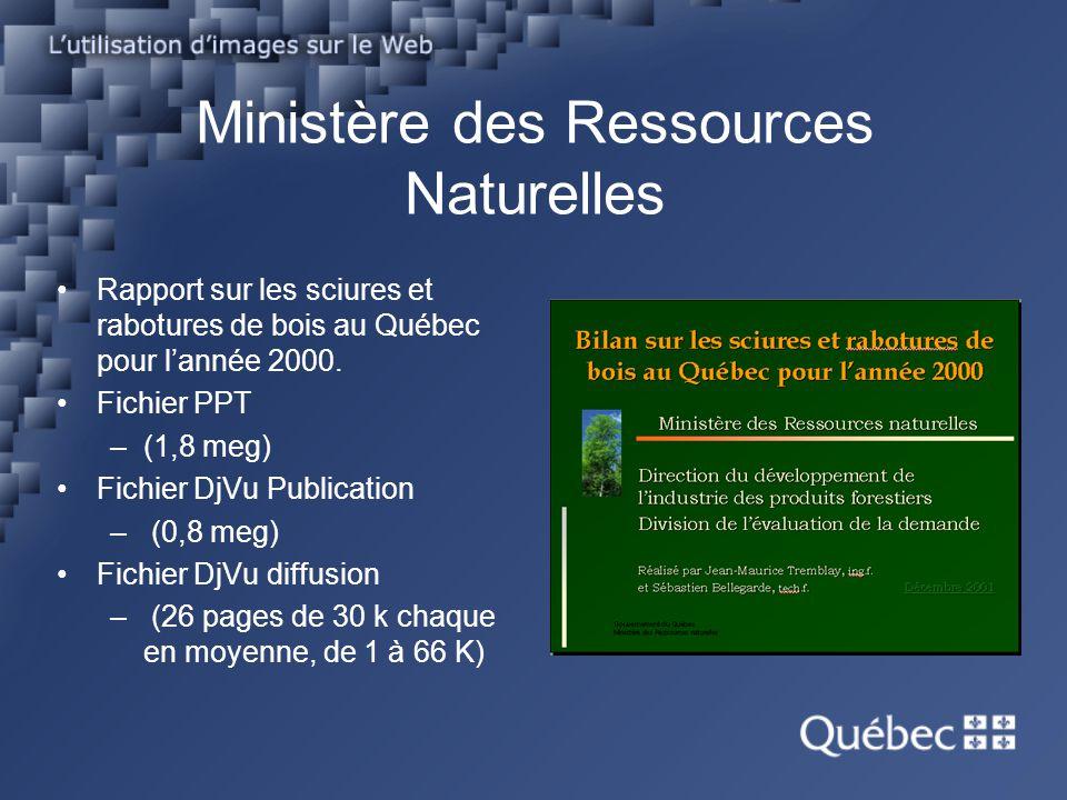 Ministère des Ressources Naturelles Rapport sur les sciures et rabotures de bois au Québec pour lannée 2000. Fichier PPT –(1,8 meg) Fichier DjVu Publi