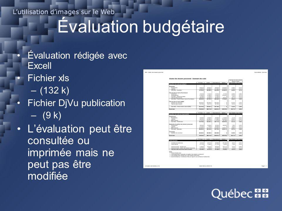 Évaluation budgétaire Évaluation rédigée avec Excell Fichier xls –(132 k) Fichier DjVu publication – (9 k) Lévaluation peut être consultée ou imprimée