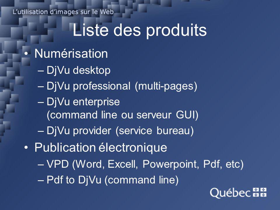 Liste des produits Numérisation –DjVu desktop –DjVu professional (multi-pages) –DjVu enterprise (command line ou serveur GUI) –DjVu provider (service