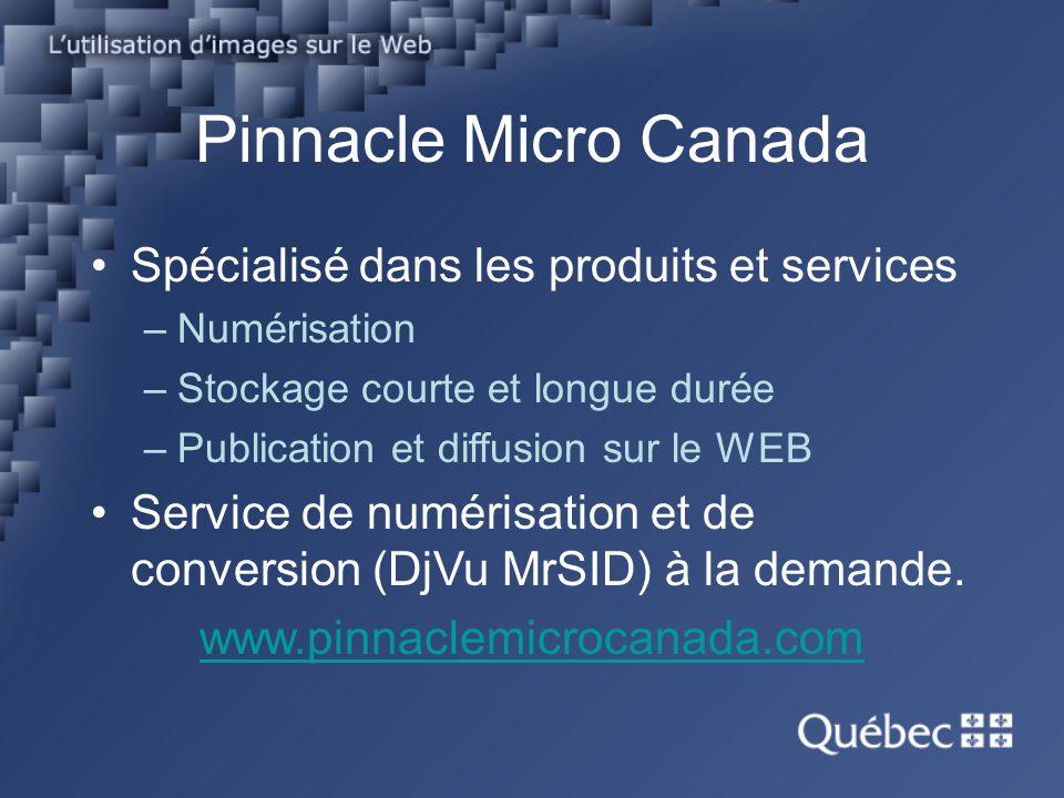 Pinnacle Micro Canada Spécialisé dans les produits et services –Numérisation –Stockage courte et longue durée –Publication et diffusion sur le WEB Ser