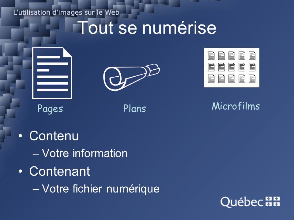 Tout se numérise Contenu –Votre information Contenant –Votre fichier numérique PagesPlans Microfilms