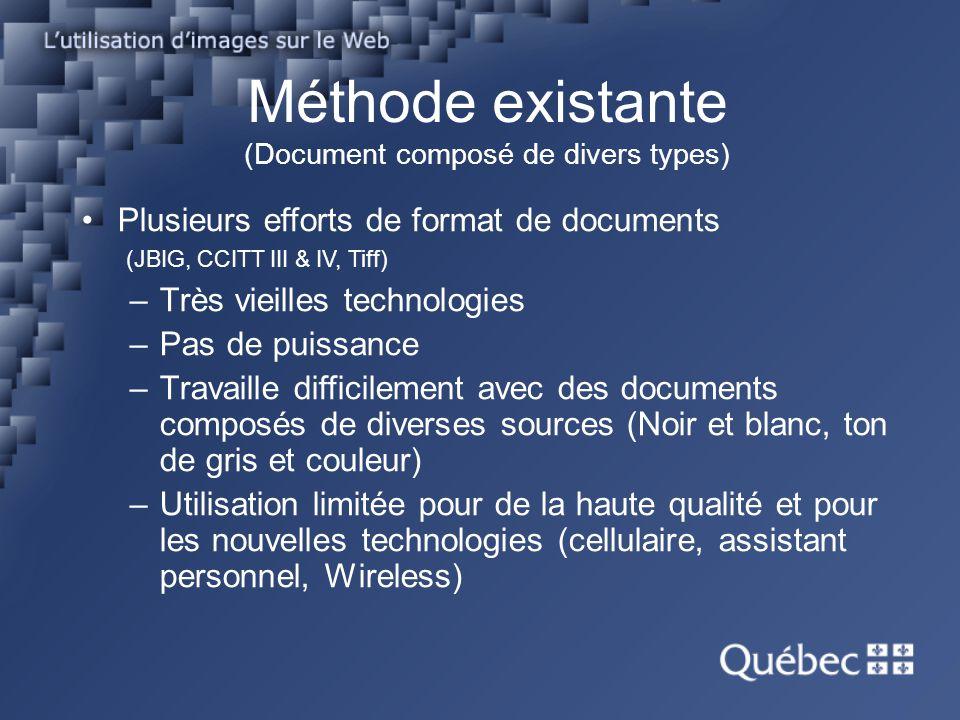 Méthode existante (Document composé) Acrobat/PDF –Conçu pour une utilisation électronique à électronique (industrie de limpression) et non pour la numérisation et pour le WEB.