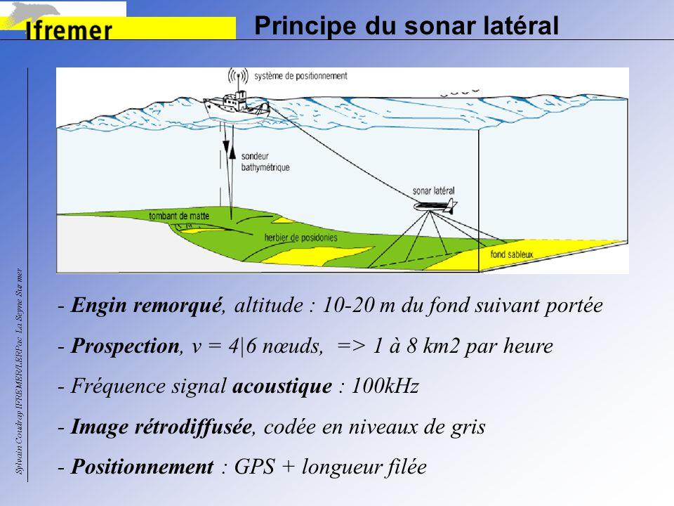 Principe du sonar latéral - Engin remorqué, altitude : 10-20 m du fond suivant portée - Prospection, v = 4|6 nœuds, => 1 à 8 km2 par heure - Fréquence