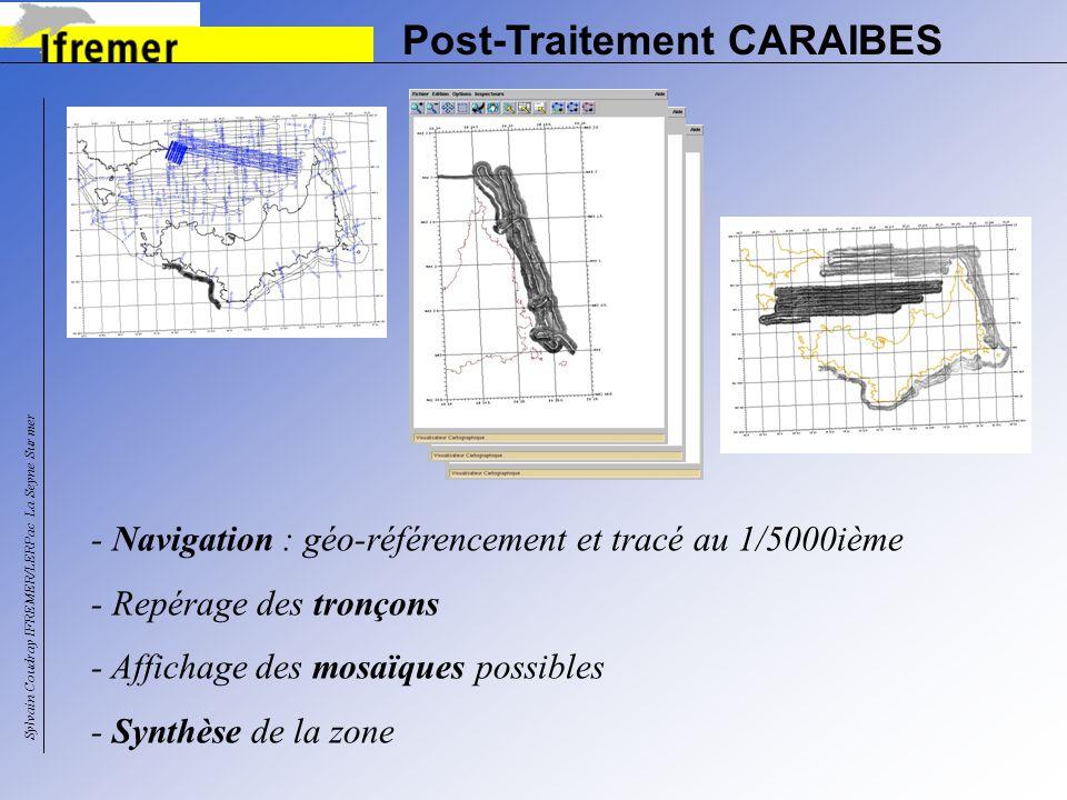 Post-Traitement CARAIBES - Navigation : géo-référencement et tracé au 1/5000ième - Repérage des tronçons - Affichage des mosaïques possibles - Synthès
