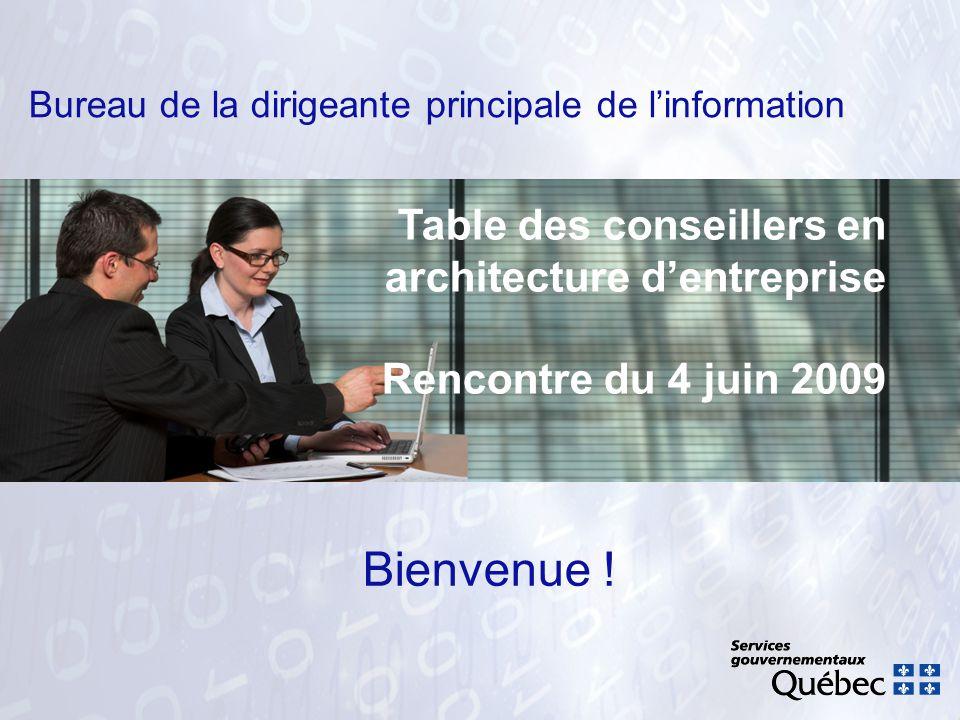 Bureau de la dirigeante principale de linformation Bienvenue ! Table des conseillers en architecture dentreprise Rencontre du 4 juin 2009