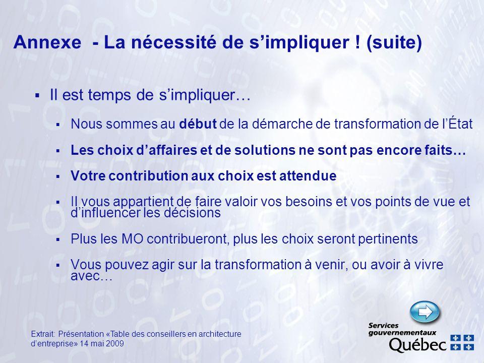 Annexe - La nécessité de simpliquer ! (suite) Il est temps de simpliquer… Nous sommes au début de la démarche de transformation de lÉtat Les choix daf